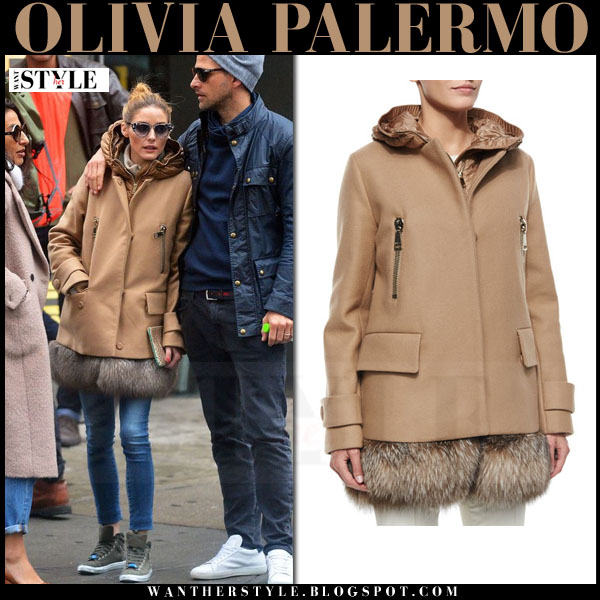 Olivia Palermo in camel fur hem moncler fenelon coat, skinny jeans and khaki canvas max and co sneakers what she wore streetstyle