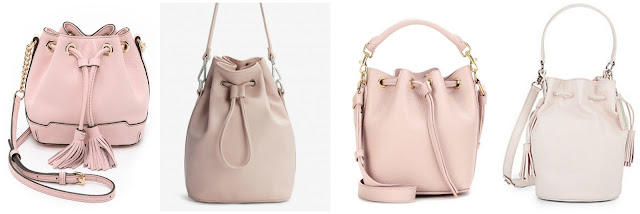 One of these blush bucket bags is from St. Laurent for $1,350 and the other three are under $150. Can you guess which one is the designer bag? Click the links below to see if you are correct!