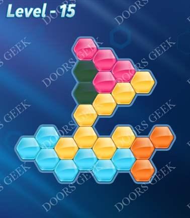 Block! Hexa Puzzle [5 Mania] Level 15 Solution, Cheats, Walkthrough for android, iphone, ipad, ipod