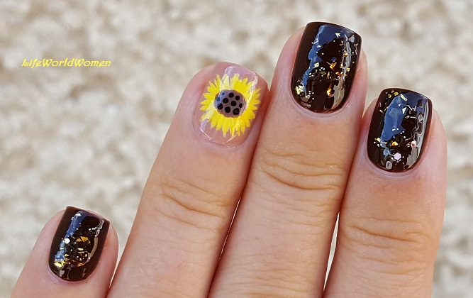 Brown Fall Nail Art With Sunflower Design - Life World Women: Brown Fall Nail Art With Sunflower Design