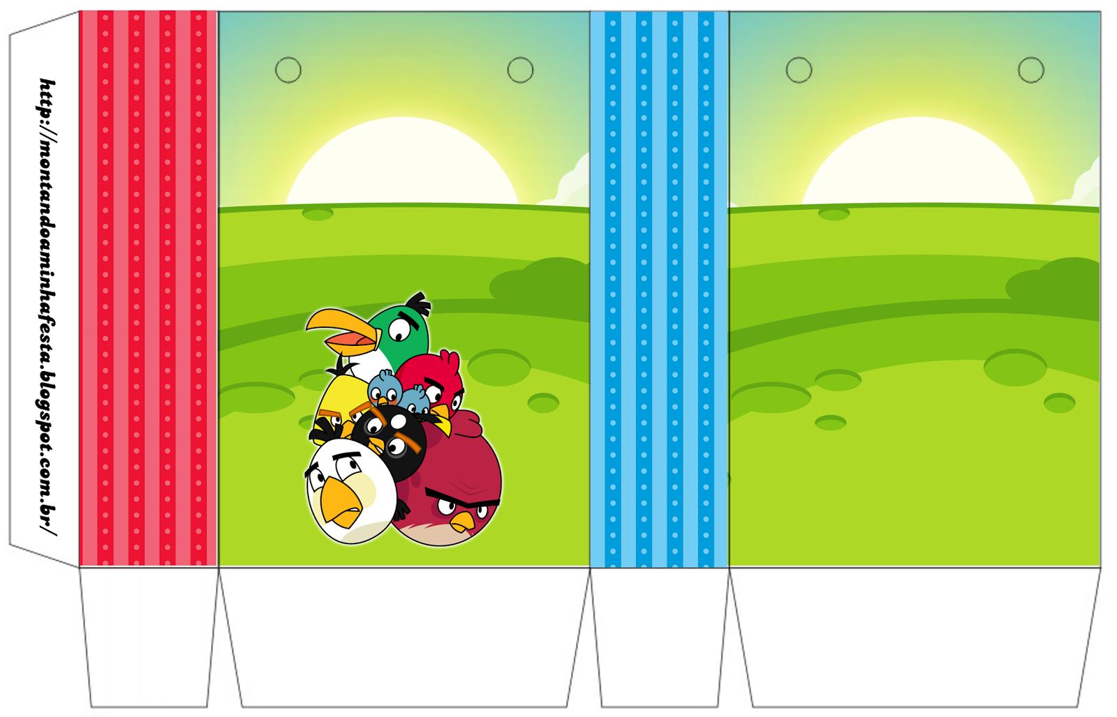 Cajas de Cumpleaños de Angry Birds para imprimir gratis.
