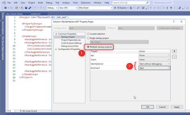 Visual Studio with IdentitytServer - Start multiples projects