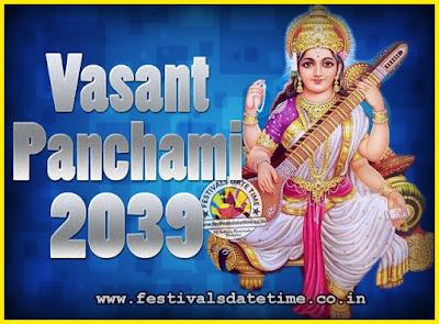 2039 Vasant Panchami Puja Date & Time, 2039 Vasant Panchami Calendar