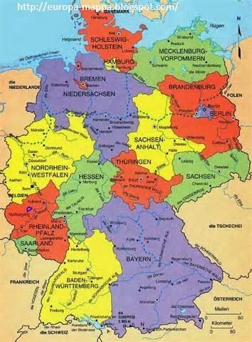 Germania Cartina Fiumi.Europa Mappa Regione Citta Mappa Del Tedesco Politico