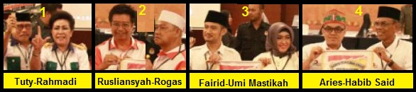 Empat pasang calon walikota dan wakil walikota Palangka Raya 2018