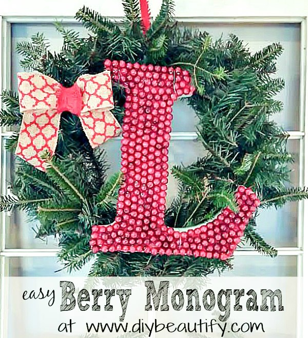 berry monogram wreath