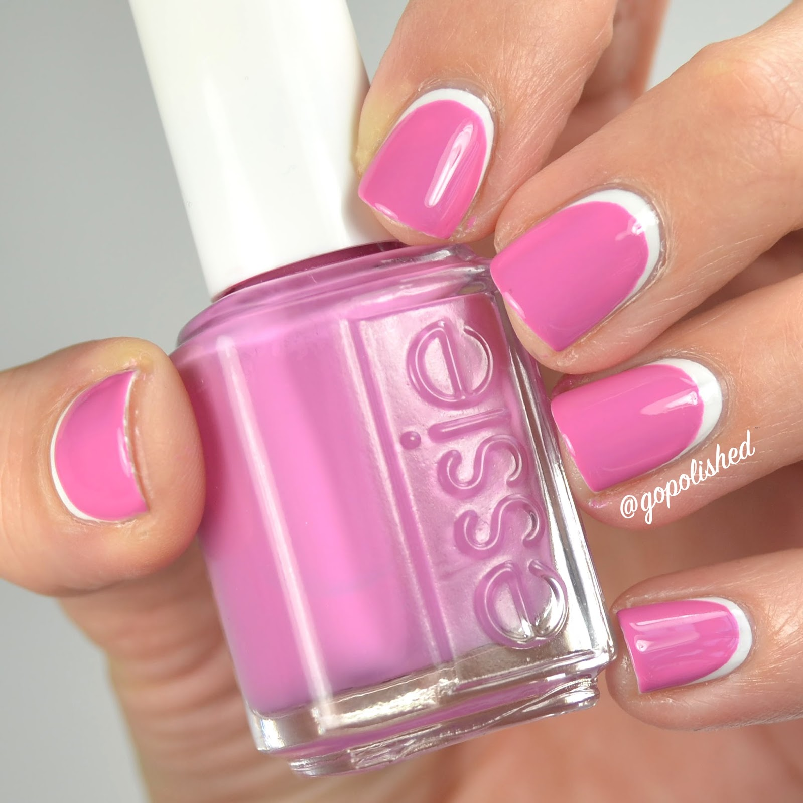 Go Polished: Reverse French (pink and white)