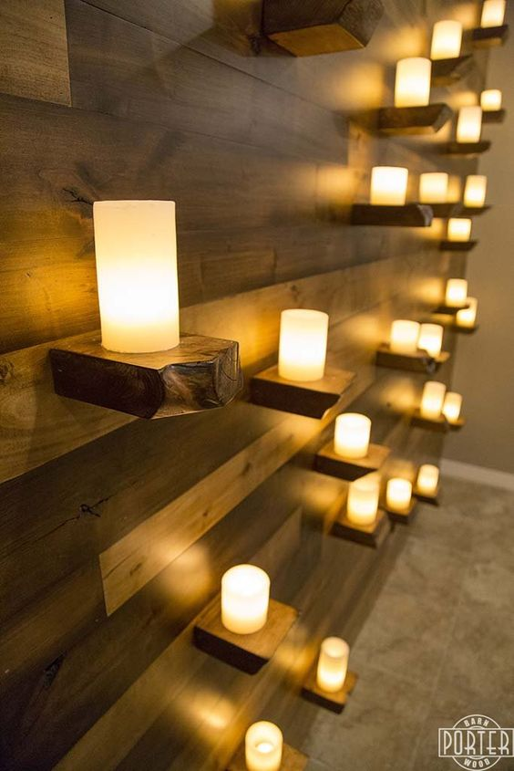 image result for alder shelves with candles