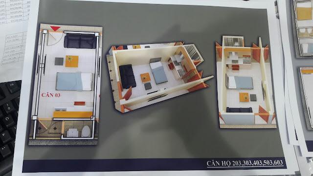Mặt bằng căn hộ trục số 3 chung cư mini Vĩnh Phúc