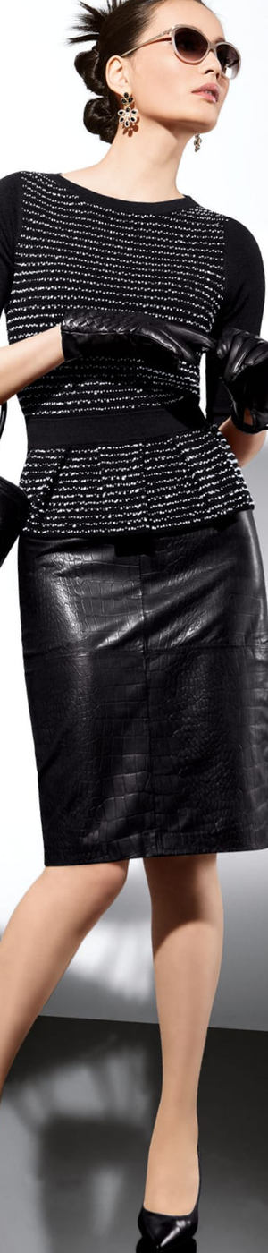 Madeleine Black Leather Skirt