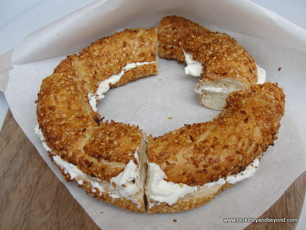 bagel spread with labne cheese at Chobani in NYC