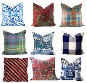 classic throw pillows with designer fabric