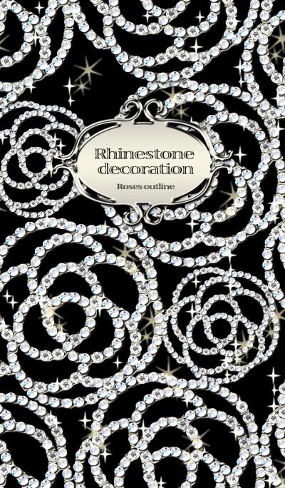 Rhinestone decoration Roses outline