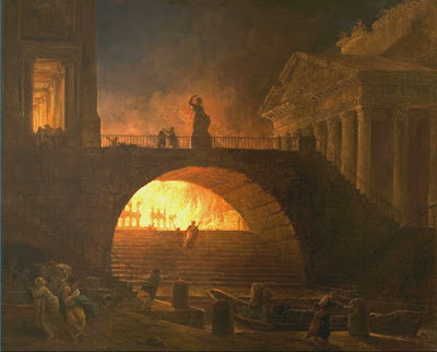 """The Fire of Rome, 18 July 64 AD"" - pintura sem data conhecida de Hubert Robert (1733-1808) exposta no Musee des Beaux-Arts Andre Malraux, em Le Havre, na França."