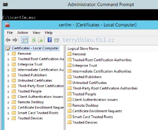 Terry L@u\'s blog: Certlm.msc on Windows Server 2012 / Windows 8 or later