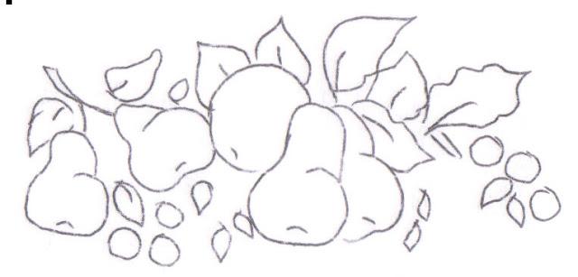 pintura em tecido frutas risco pano de prato