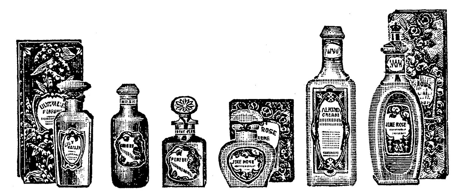 Digital Stamp Design: Vintage Perfume Bottles Borders ...