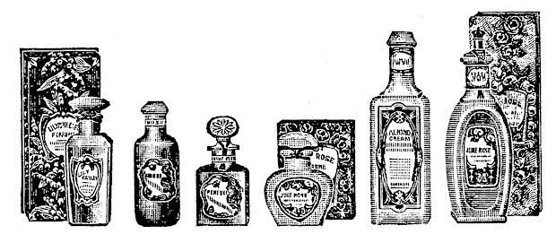 digital stamp design vintage perfume