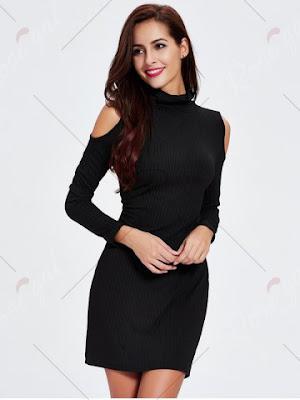 Cold Shoulder Long Sleeve Mini Sheath Dress
