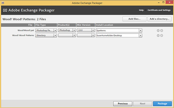 Add files to Adobe Exchnage packager