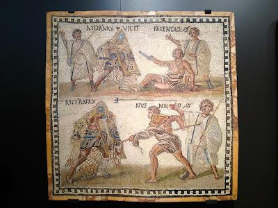Gladiadores en mosaico romano - Museo Arqueológico Nacional - MAN - Madrid el troblogdita