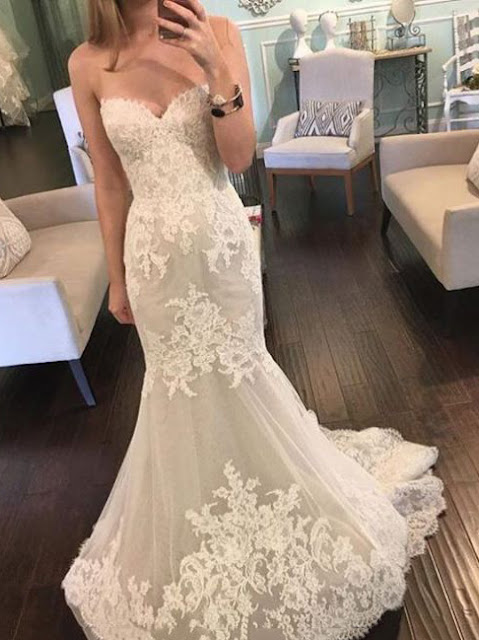 Fashionable Sweetheart Lace Mermaid/Trumpet Wedding Dress (11342036)