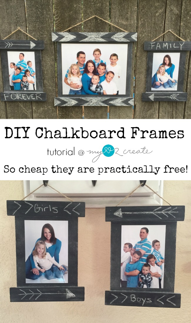 Build your own DIY Chalkboard Frames with this quick and easy tutorial.  A great way to display photos, make signs, and much more!  At My Love 2 Create