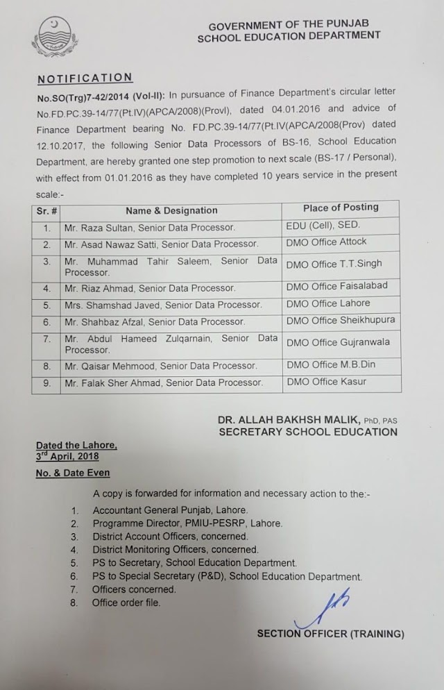 ONE STEP PROMOTION OF SENIOR DATA PROCESSORS OF SCHOOL EDUCATION DEPARTMENT FROM BS-16 TO BS-17