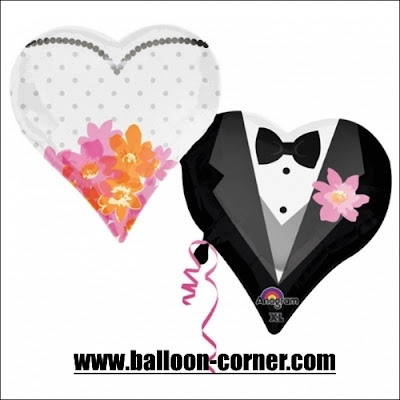 Balon Foil Wedding Couple Heart