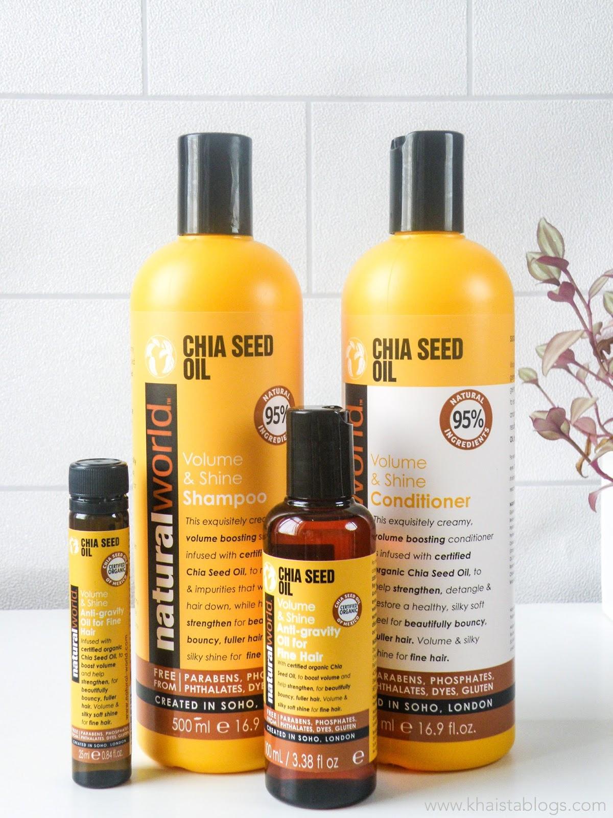 Natural world chia seed hair care range