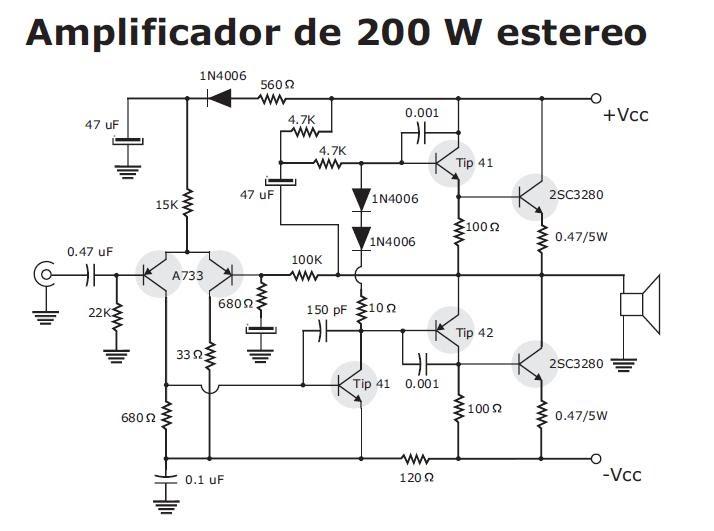 amplificador  u00e1udio 200 500w esquemas eletronica pt