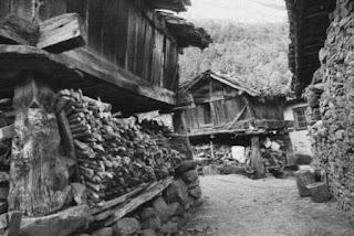 Fotografía de hórreos beyucos, con tejados a cuatro vertientes (archivo del autor)