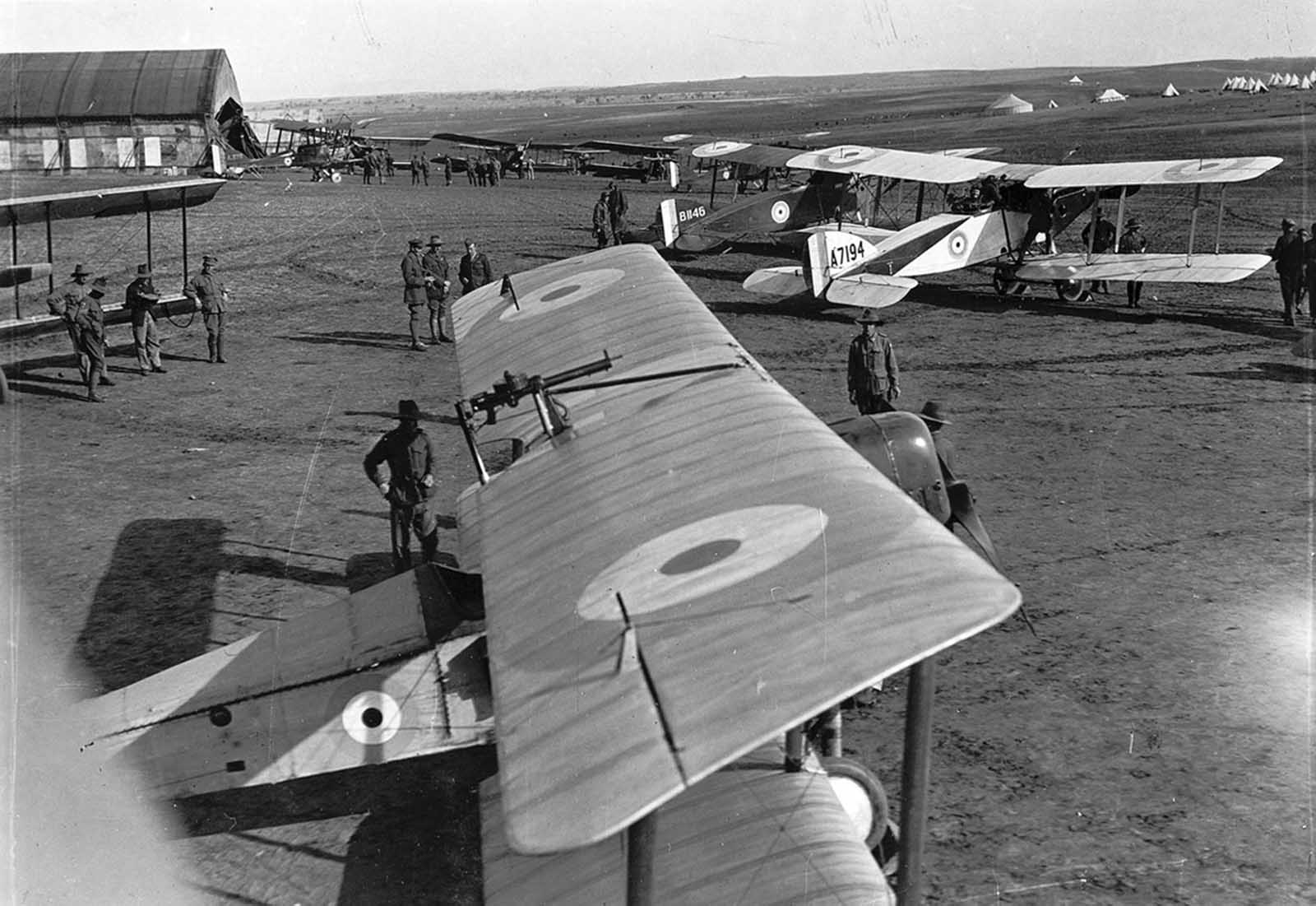 No. 1 Squadron, a unit of the Australian Flying Corps, in Palestine in 1918.