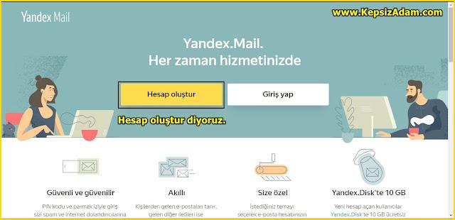 yandex hesap oluşturma ücretsiz mail açma