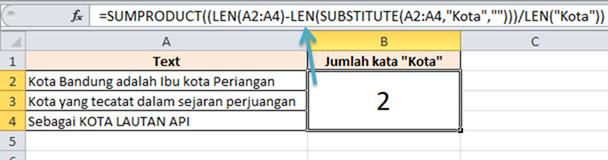 contoh rumus excel menghitung jumlah kata tertentu dalam range