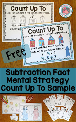 These free samples, compiled from three of my subtraction resources, are for reinforcing the count up to subtraction fact strategy with first and second graders.