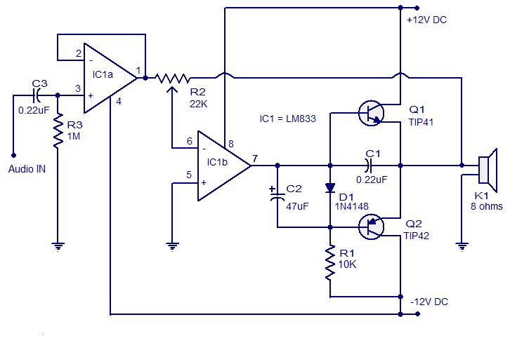 Schematic Amplifier Tip41 Tip42