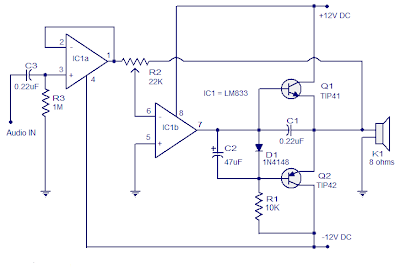 simple class-b amplifier-opamp tl082