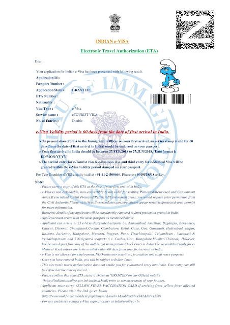 Bon e-VISA pour l'Inde