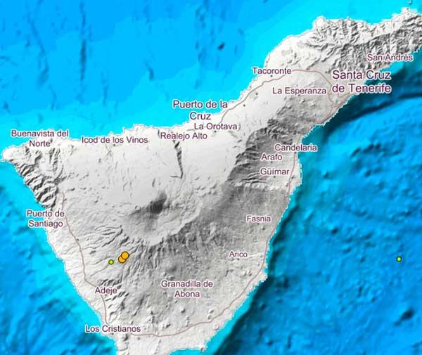 Epicentros de los dos terremotos registrados en la madrugada del 6 de noviembre en Vilaflor, Tenerife