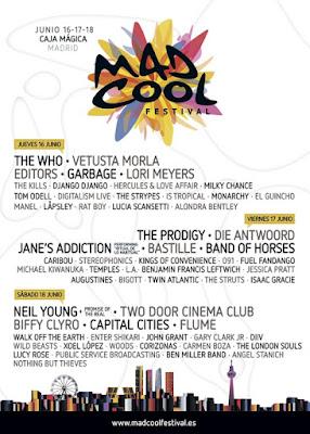 Mad Cool Festival Madrid cartel programacion por días