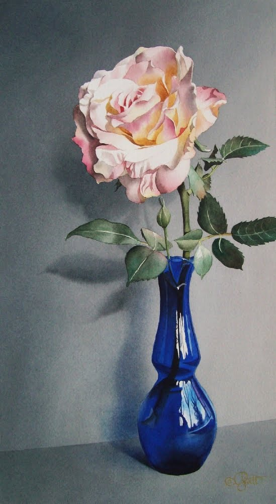 Contemporary Realism Still Life With Blue Vase