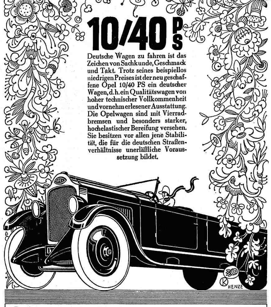 a 1927 Opel car advertisement with illustration of a woman driving