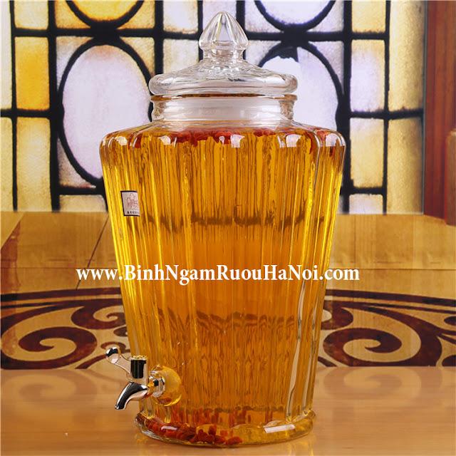 Bình thủy tinh ngâm rượu gân mã 8897 – 8.5 lít có vòi