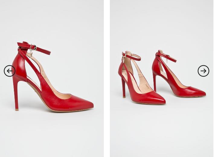 Wojas - Pantofi cu toc din piele naturala rosii cu decupaje