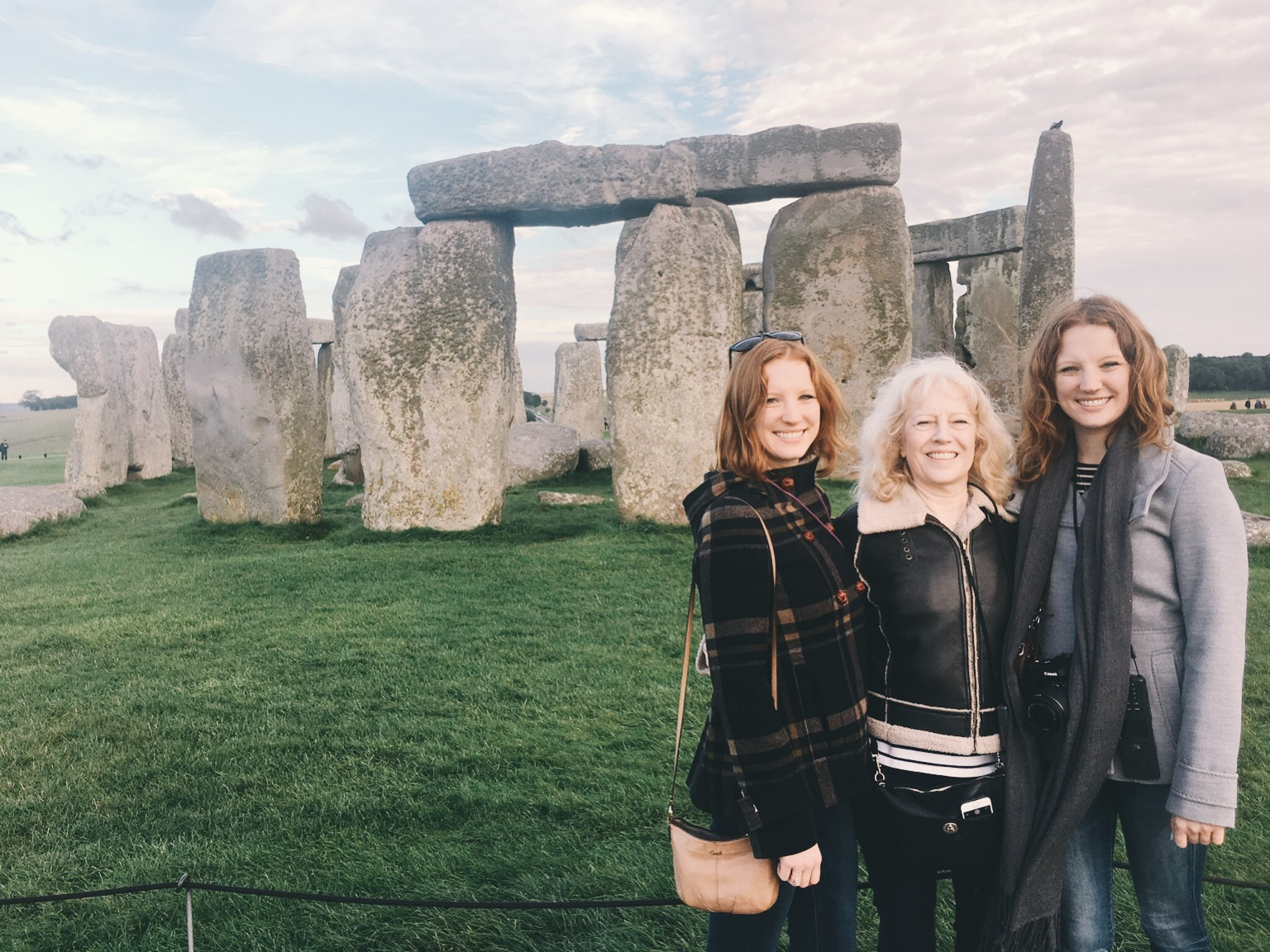 Family photo in front of Stonehenge in England