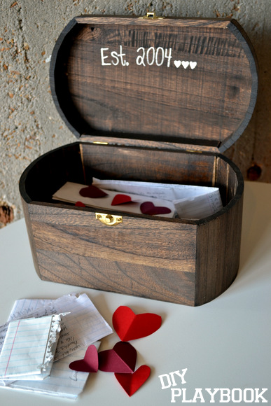 Add some personal touches to the love note box with a wood paint marker