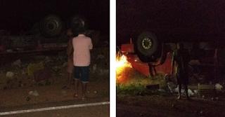 Brumado/BA: Caminhão tomba e deixa uma vitima fatal  e outra ferida