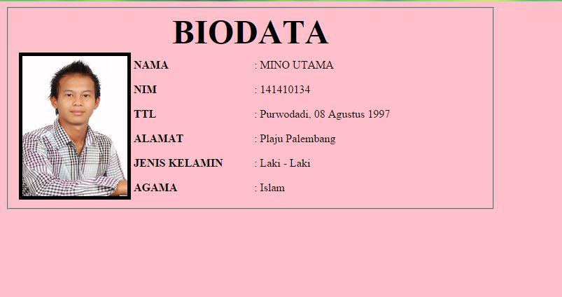 Belajar Dasar Html Membuat Biodata Sederhana Html
