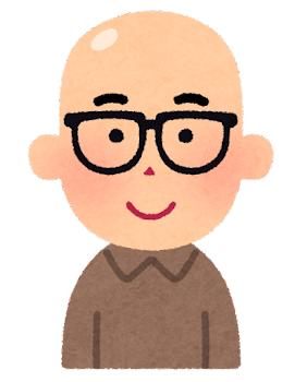 スキンヘッドの男性のイラスト(眼鏡)